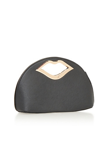 Faux Leather Clutch with Lips Handle,BLACK,large