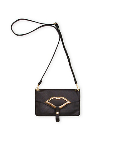 Crossbody Bag with Lips Accent,BLACK,large