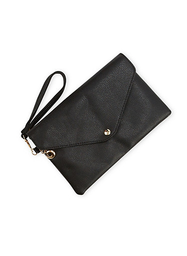 Envelope Clutch with Wrist Strap,BLACK,large