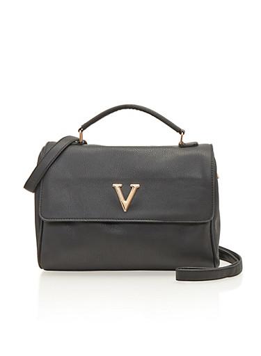 Satchel Bag with Metal V,BLACK,large