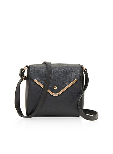 Crossbody Flap Satchel Bag in Leather,BLACK,large