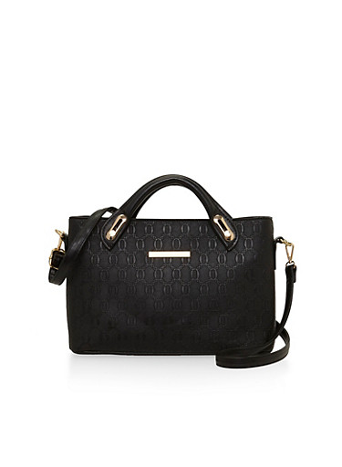 Embossed Faux Leather Handbag with Detachable Shoulder Straps,BLACK,large