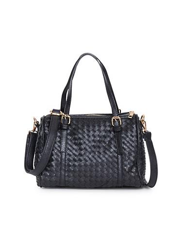 Woven Buckle Strap Handbag,BLACK,large