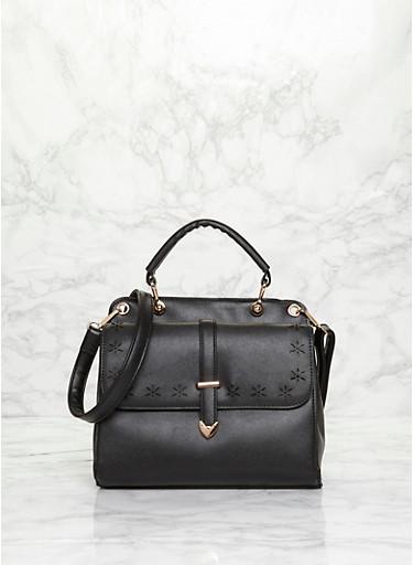 Laser Cut Faux Leather Satchel Bag with Detachable Crossbody Strap,BLACK,large