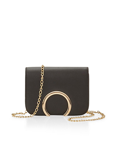 Faux Leather Crossbody Bag with Metal Accent,BLACK,large