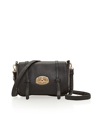 Latched Faux Leather Crossbody Bag,BLACK,large