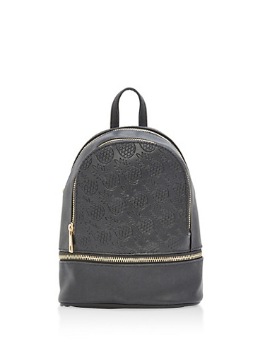 Pineapple Embossed Faux Leather Backpack,BLACK,large