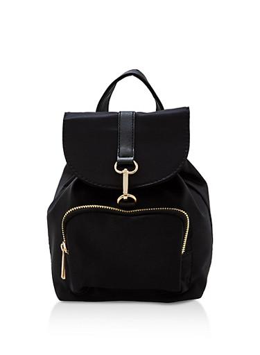 Mini Flap Backpack,BLACK,large