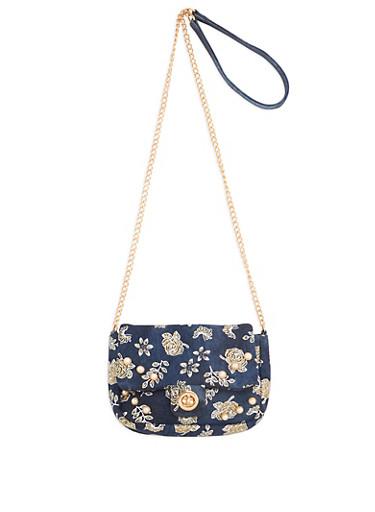 Glitter Floral Faux Pearl Studded Denim Crossbody Bag,DENIM,large