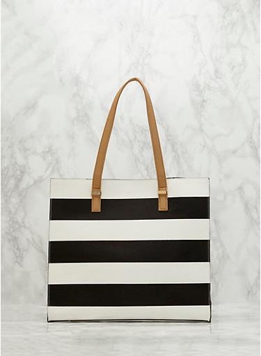 Striped Faux Leather Tote Bag,BLACK/WHITE,large