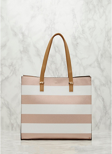 Striped Faux Leather Tote Bag,WHITE/ROSE,large