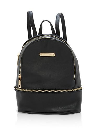 Small Triple Zip Backpack,BLACK,large