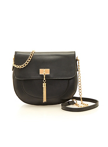 Faux Leather Saddle Bag with Chainlink Tassel,BLACK,large
