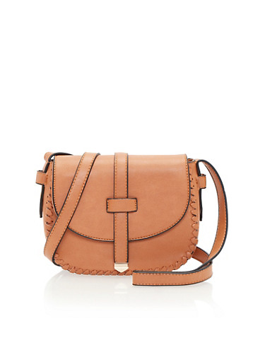 Crossbody Bag with Stitched Trim,CAMEL,large