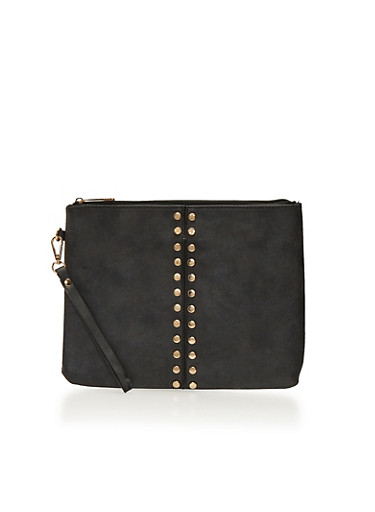 Large Studded Clutch with Wrist Strap,BLACK,large