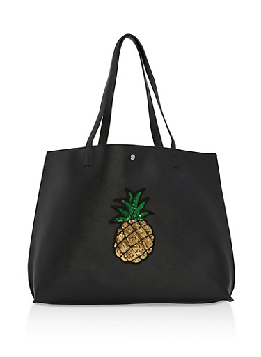Faux Leather Sequin Pineapple Tote Bag,BLACK,large