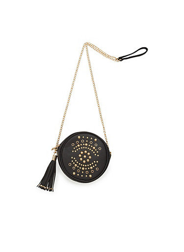 Canteen Faux Leather Crossbody Bag with Studded Exterior,BLACK,large