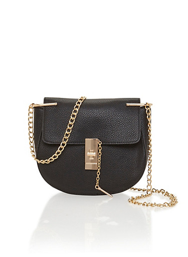 Pebbeled Faux Leather Saddle Bag with Chain Crossbody Strap,BLACK,large