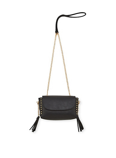 Mini Faux Leather Crossbody Bag with Studded Trim,BLACK,large