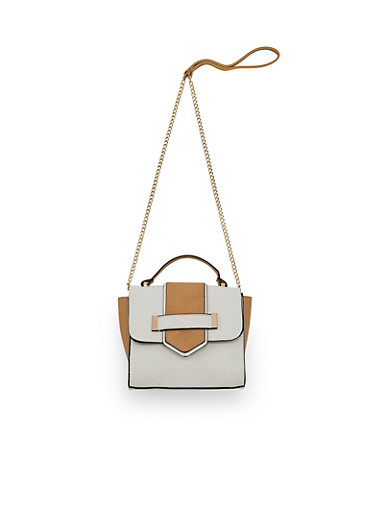 Mini Color Block Crossbody Handbag,WHITE,large