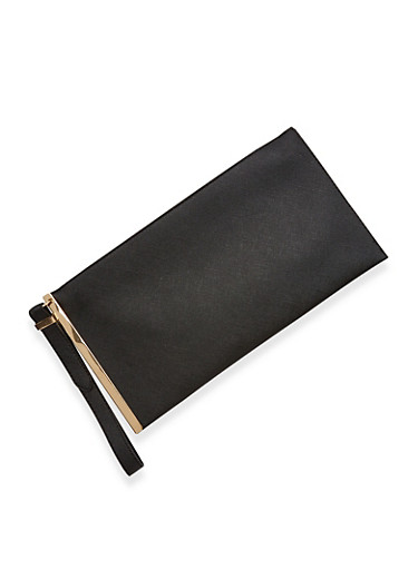 Faux Leather Metallic Side Bar Wristlet,BLACK,large