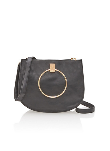 Faux Leather Double Ring Handle Crossbody Bag,BLACK,large
