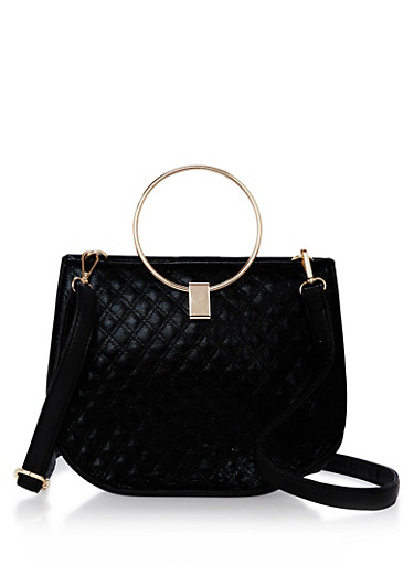 Quilted Faux Leather O Ring Handle Satchel,BLACK,large