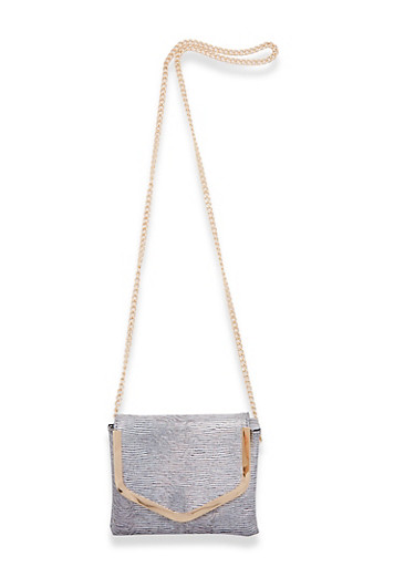 Textured Holographic Envelope Crossbody Bag,SILVER,large