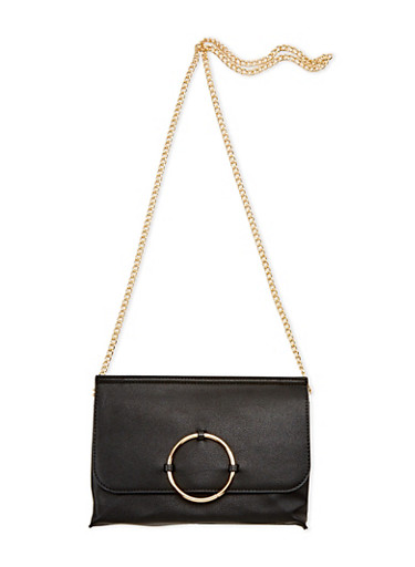 Faux Leather Crossbody Bag with Ring Accent,BLACK,large