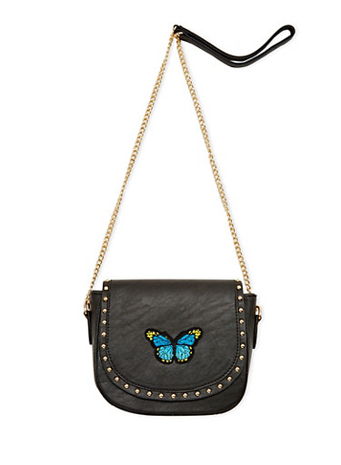Studded and Embroidered Faux Leather Crossbody Bag,BLACK,large