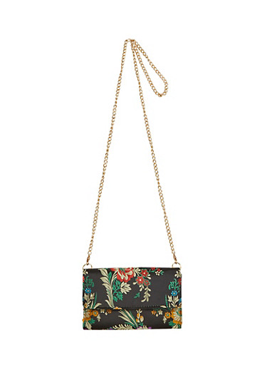 Satin Floral Embroidered Chain Strap Crossbody Bag,BLACK,large