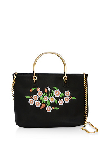 Embroidered Faux Leather Metallic Handle Crossbody Bag,BLACK,large