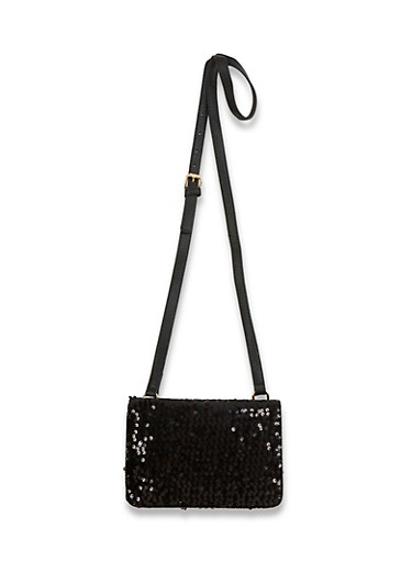 Velvet Sequin Fold Over Crossbody Bag,BLACK,large