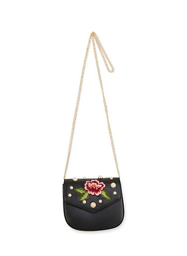Embroidered Faux Leather Crossbody Bag,BLACK,large