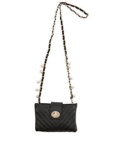 Quilted Faux Leather Crossbody Bag with Faux Pearl Strap Accent,BLACK/GOLD,large