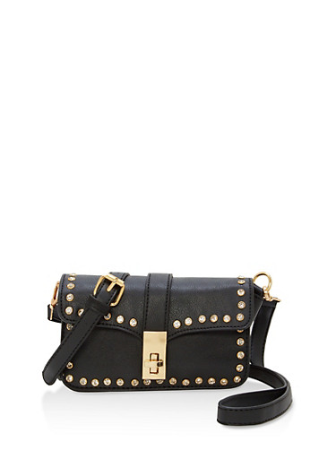 Rhinestone Studded Crossbody Bag,BLACK,large