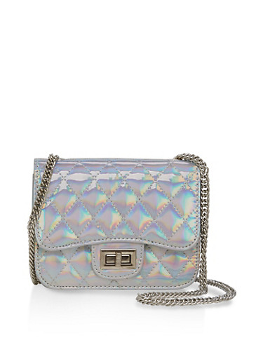 Quilted Metallic Crossbody Bag,SILVER HALOG,large