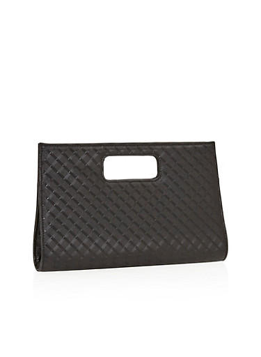 Embossed Clutch with Square Cutout Handle,BLACK,large