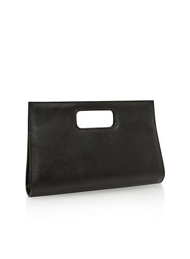 Grainy Faux Leather Clutch,BLACK,large
