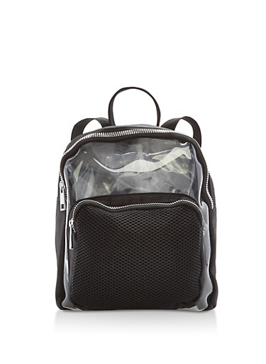 Clear Nylon Backpack with Mesh Detail,BLACK/SILVER,large