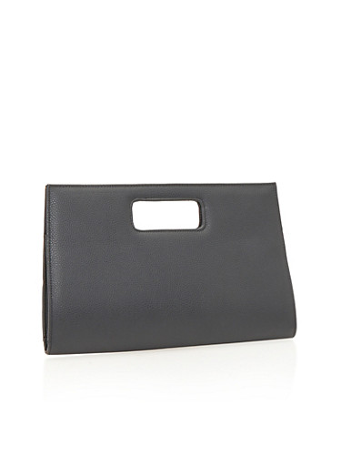 Faux Leather Clutch with Cutout Handle,BLACK,large