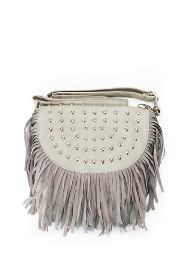 Fringe Crossbody Bag,GREY,large