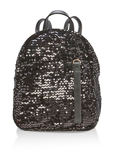 Velvet Sequin Backpack with Faux Leather Straps,BLACK,large