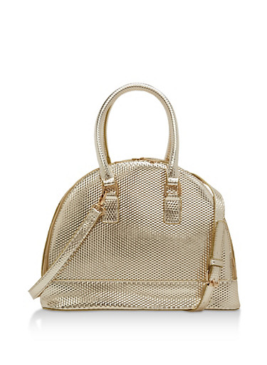 Embossed Double Zip Bowling Bag,GOLD,large