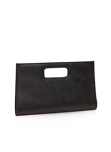 Faux Leather Cutout Handle Clutch,BLACK,large