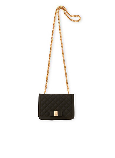 Quilted Metallic Crossbody Bag with Chain Strap,BLACK,large