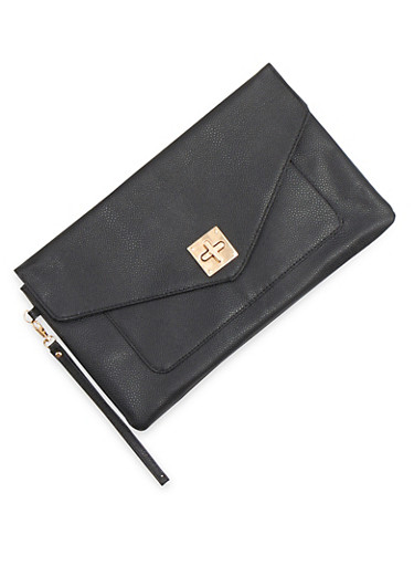 Large Envelope Clutch with Twist Lock,BLACK,large