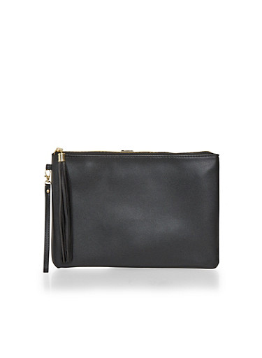 Faux Leather Clutch with Tassel,BLACK,large