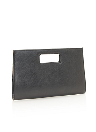 Leather Cutout Handle Clutch,BLACK,large