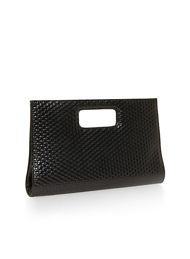 Large Cutout Handle Clutch with Textured Faux Leather,BLACK,large